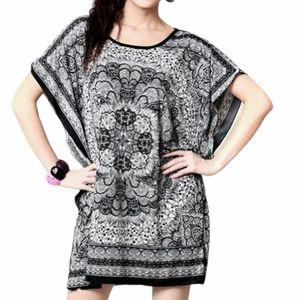 India Boutique Persian Paisley Mini Tunic Dress L